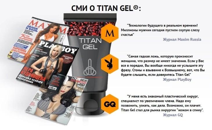 Мировая пресса о Titan Gel