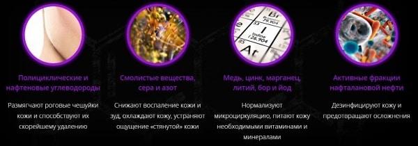 Что входит в состав в «Нафталан Псори PRO»