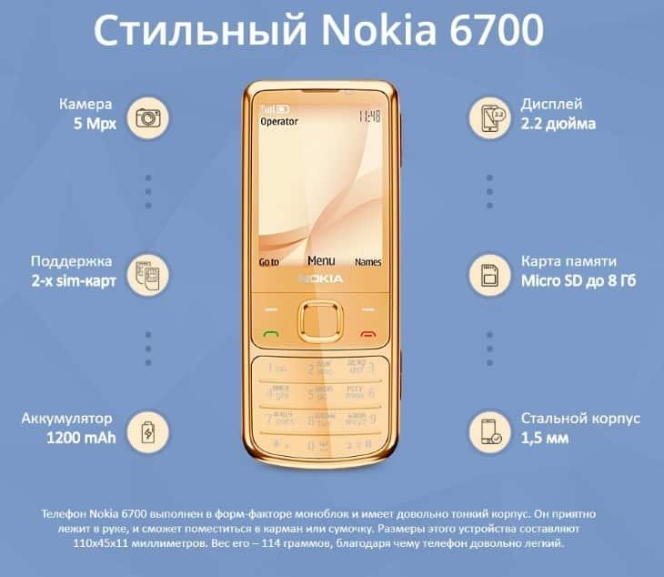 Комплектация аппарата Nokia 6700