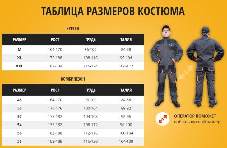 Таблица размеров EuroPro-Tek