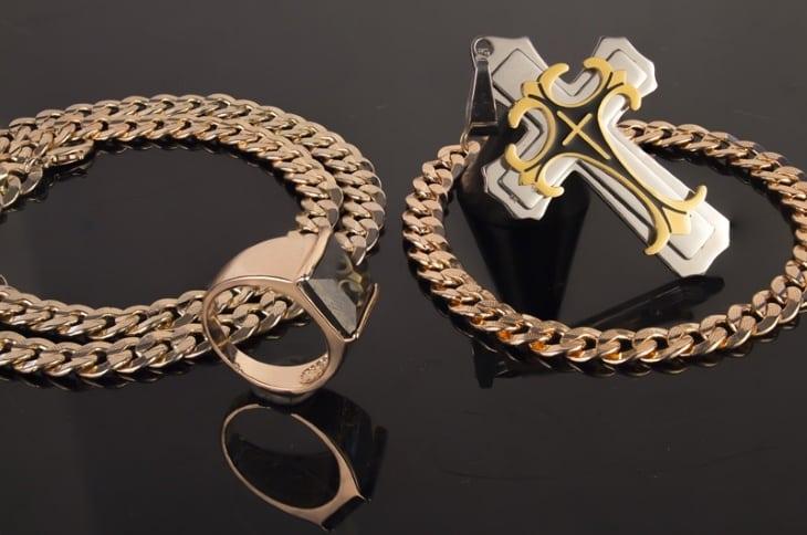 Комплект Dominik: крест, цепочка, браслет, кольцо