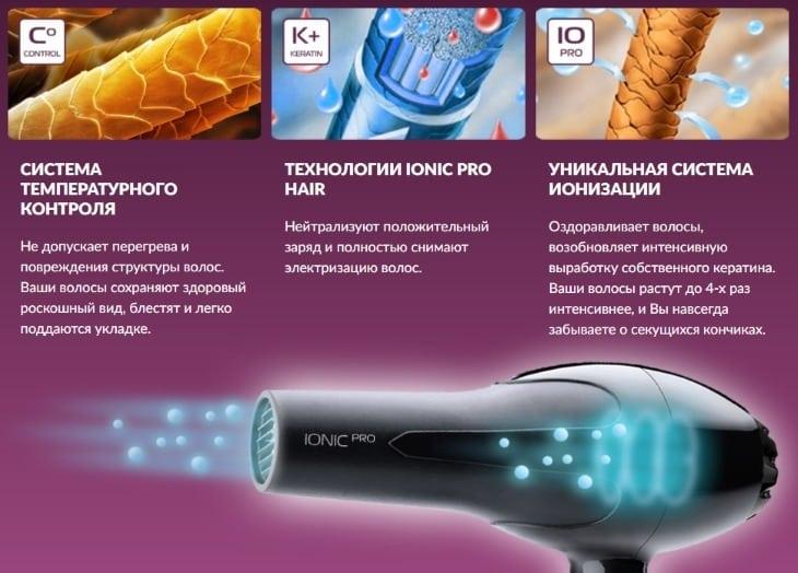 Преимущества фена Ionic Pro Hair