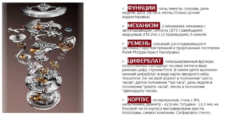Основные технические характеристики Patek Philippe Sky Moon Tourbillion