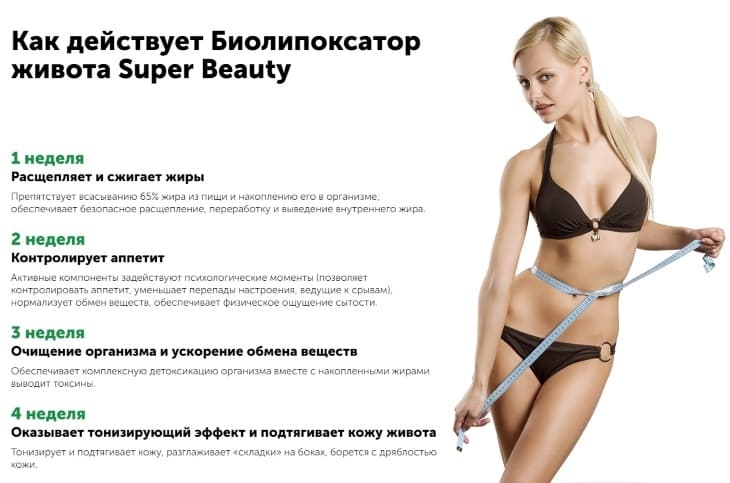 Как действует биолипоксатор живота Super Beauty