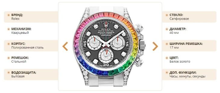Технические характеристики часов Rolex White Gold Daytona Rainbow