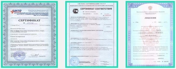 Сертификаты на продукцию Forever Comfy