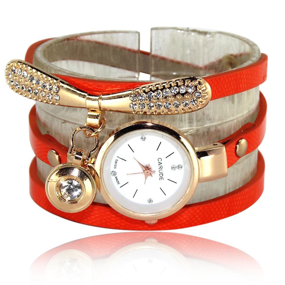 Женские Швейцарские часы Carude + кулон с фианитами Ring Heart