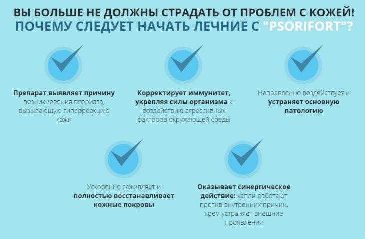 Главные преимущества средства Psorifort