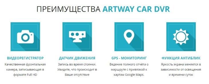 Главные преимущества Artway Car DVR 3 в 1