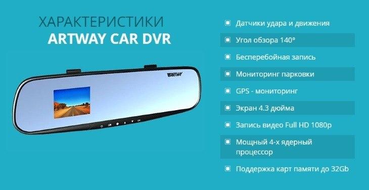 Технические характеристики Artway Car DVR 3 в 1
