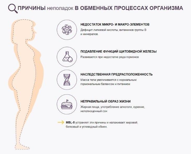 Причины неполадок в обменных процессах организма
