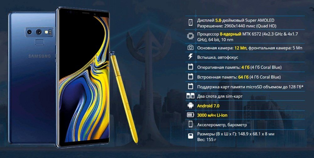 Технические характеристики реплики Samsung Galaxy note 9