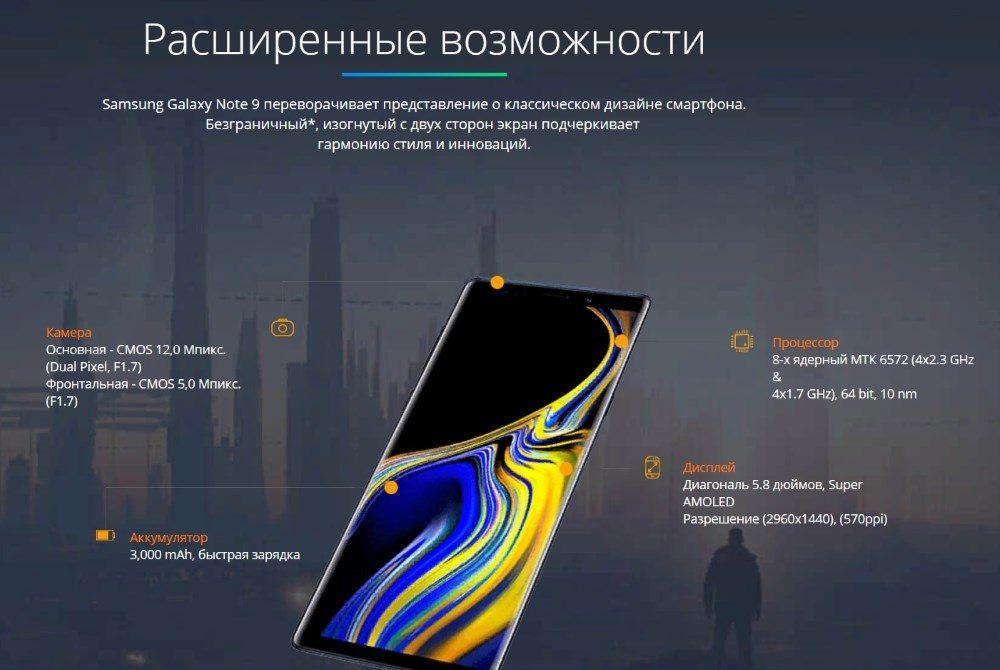 Возможности точной копии телефона Samsung Galaxy note 9