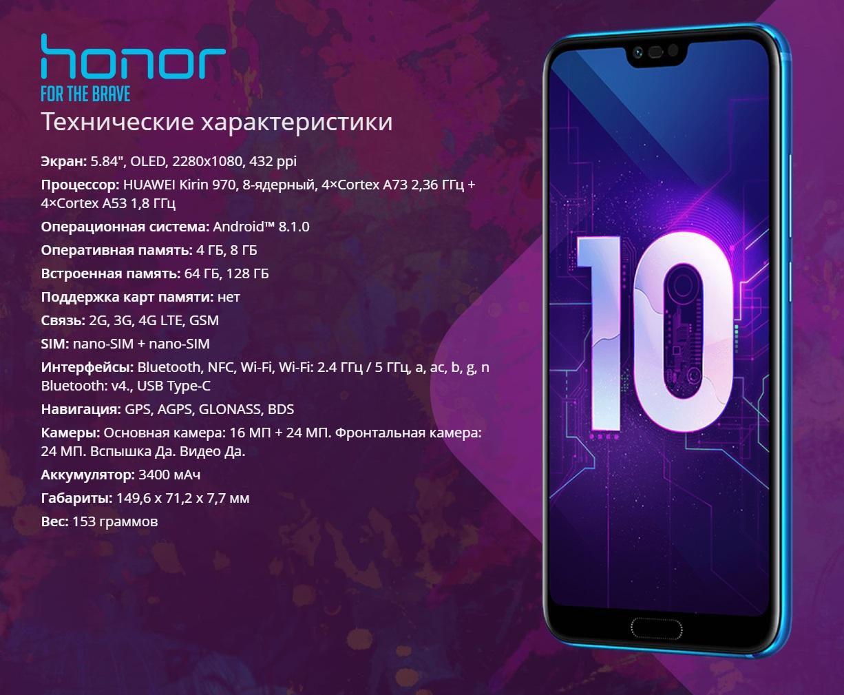Технические характеристики реплики Huawei Honor 10